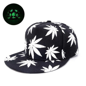 Fluorescent Light Series Hip Hop Cap | Green Canabis-Caps-SHED71-SHED71
