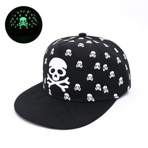 Fluorescent Light Series Hip Hop Cap | Green Skull & Bones-Caps-SHED71-SHED71