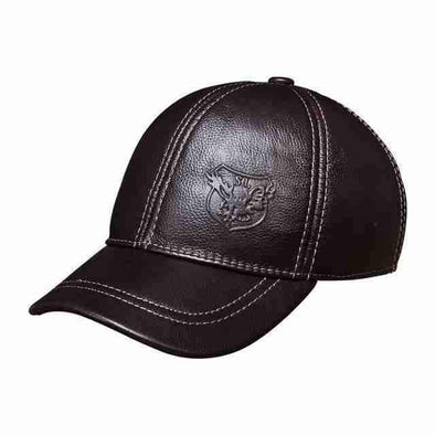 Genuine Leather Baseball Cap | Embossed Red Brown-Caps-SHED71-red brown-SHED71
