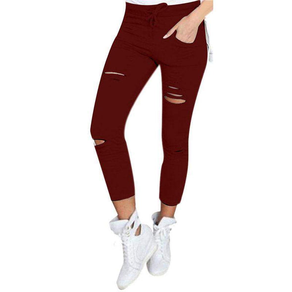 Hole Leggings with Pockets | Dark Red-Leggings-SHED71-Red-S-SHED71