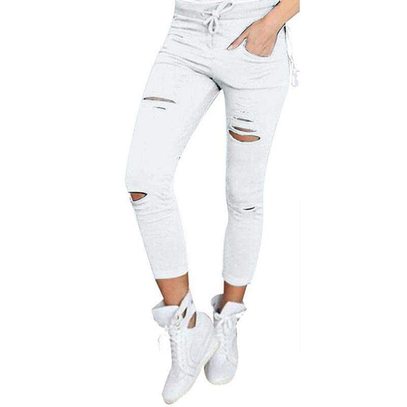 Hole Leggings with Pockets | White-Leggings-SHED71-White-S-SHED71