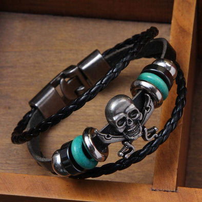 Leather Skull Wristband-Jewellery-SHED71-SHED71