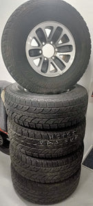 (SECOND HAND) GREY / SILVER 15inch WHEELS & TYRES 265/70R15 A/Ts