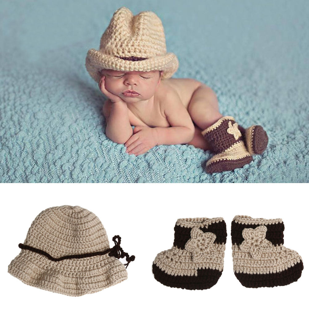 af1093274c5 ... Newborn Photo Props Infant Crochet Knit Cowboy Costume Hat Shoes Outfits  Costume Photography Props Stylish Baby
