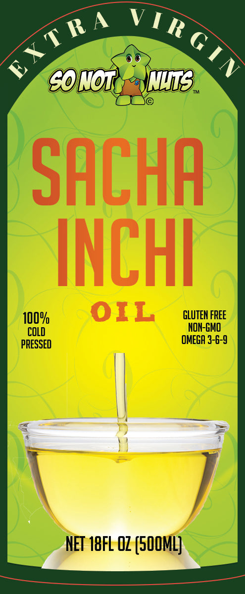 Sacha Inchi Oil 18FL.OZ (500ml) - 100% COLD PRESSED - ORGANIC SUPERFOOD