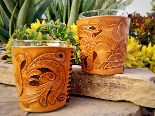 Tooled Leather Whiskey Glass Covers