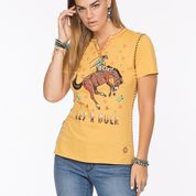 The Circus Rodeo Tee by Double D Ranch  Lemon Drop