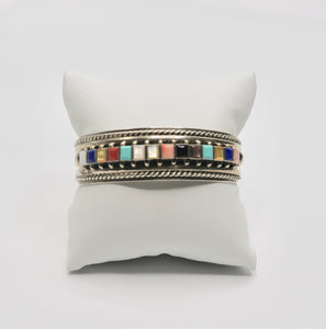 Multi Colored Gem Silver Cuff
