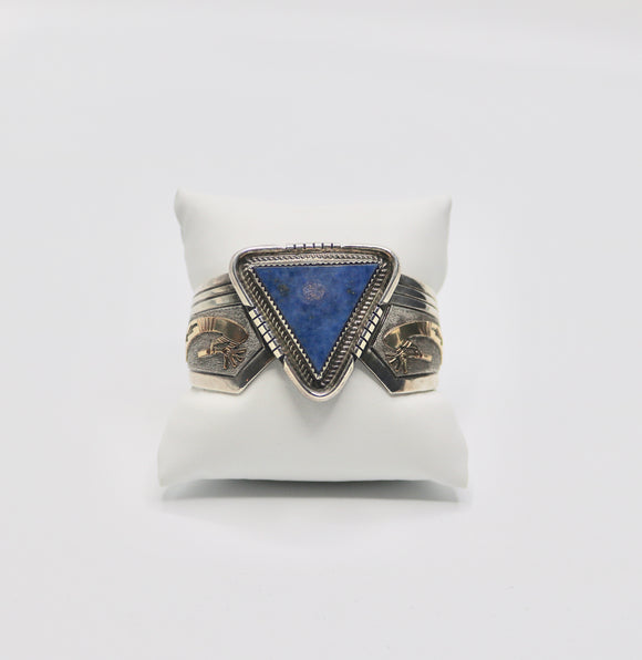 Lapis Sterling Cuff with Gold Kokopelli