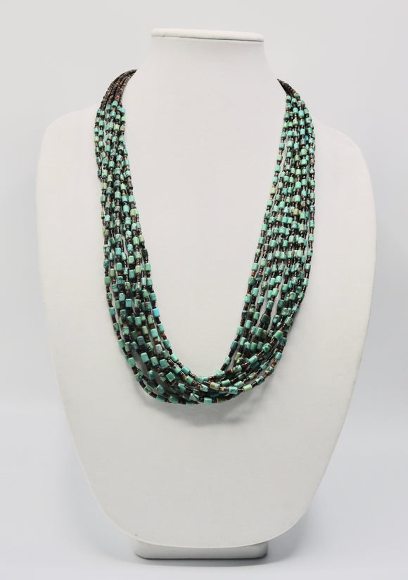 Green Turquoise and Heishi Bead Multiple Strand Necklace
