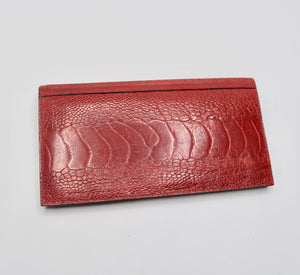 Ostrich Shin Womens Wallet -Red