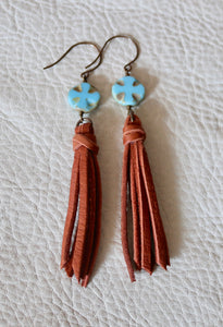 Turquoise Czech Glass and Leather Earrings