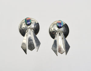 Silver Earrings with Coral and Lapis
