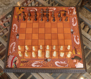 Hand Tooled leather Chess Set