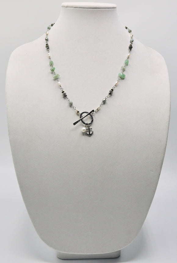 Anchor & Pearl Beaded Necklace