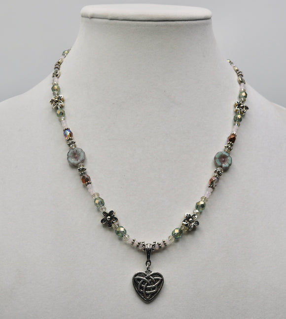 Celtic Knot Heart Beaded Necklace