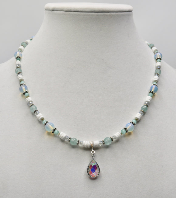 Sea Foam & Opalite Beaded Necklace