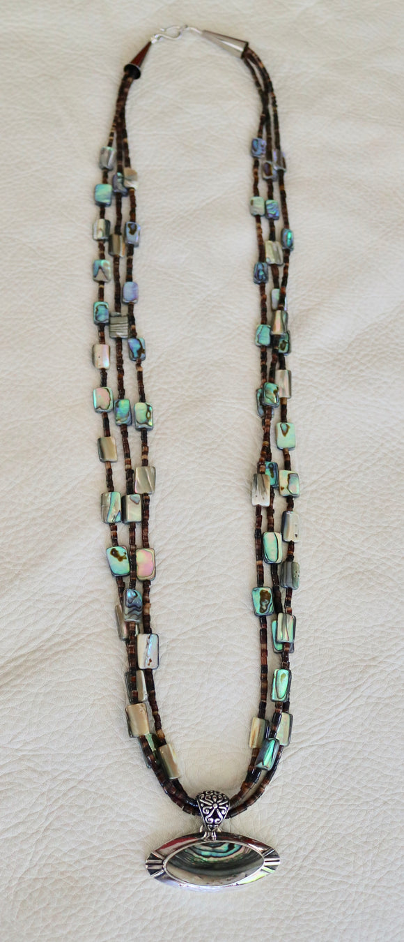 3 Strand Abalone and Heishi Bead Necklace