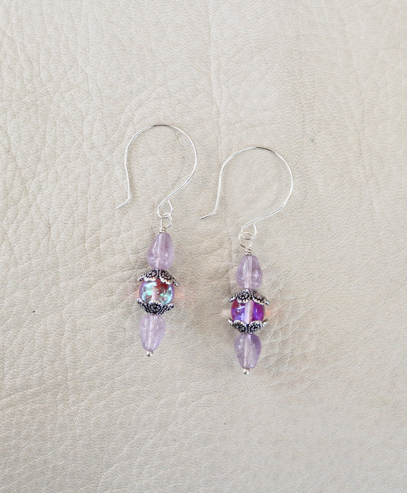 Cat-eye & Amethyst Earrings