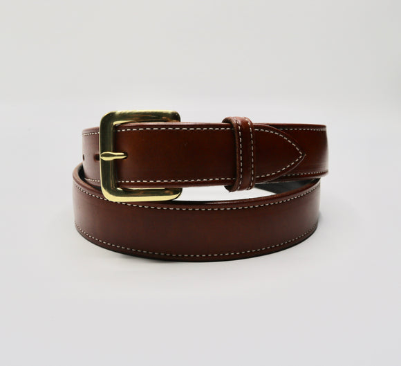 Mens Tan Dress Belt w/ Gold Buckle