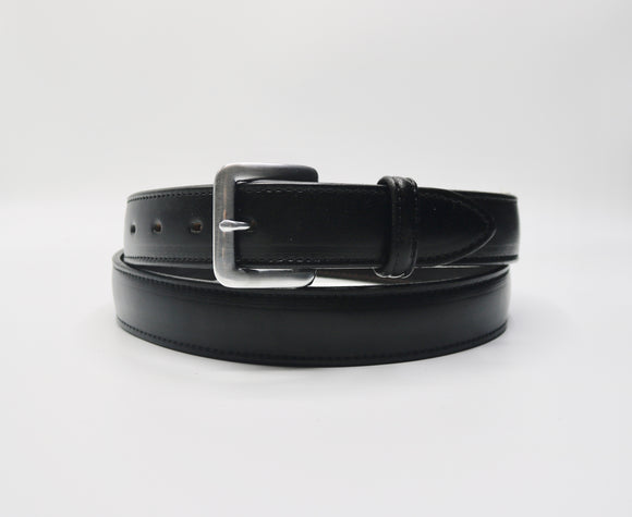 Mens Leather Belt -Black w/ Silver Buckle