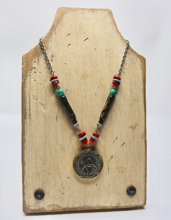 Jubilee Coin Necklace W/ Turquoise