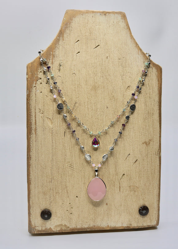 Rose Quartz & Fluorite Necklace