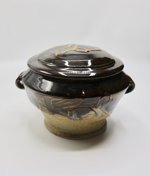 Covered Pot in Black & Gold