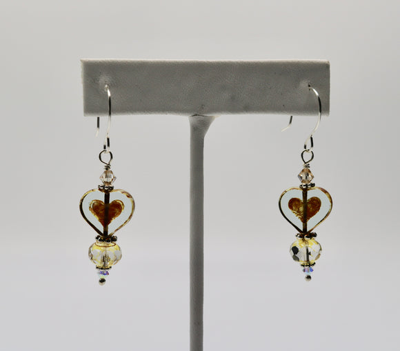 Bronze Czech Glass Heart Earrings