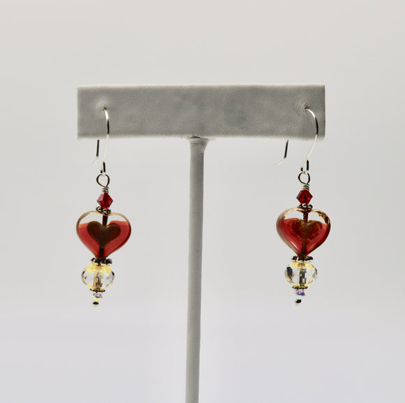 Red Heart Czech Glass Earrings