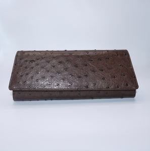 Crystal Ostrich Clutch in Cognac