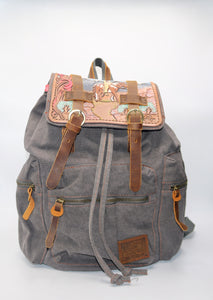 Hand Tooled Leather & Canvas Backpack