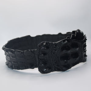 Kulu Genuine Crocodile Belt -Black