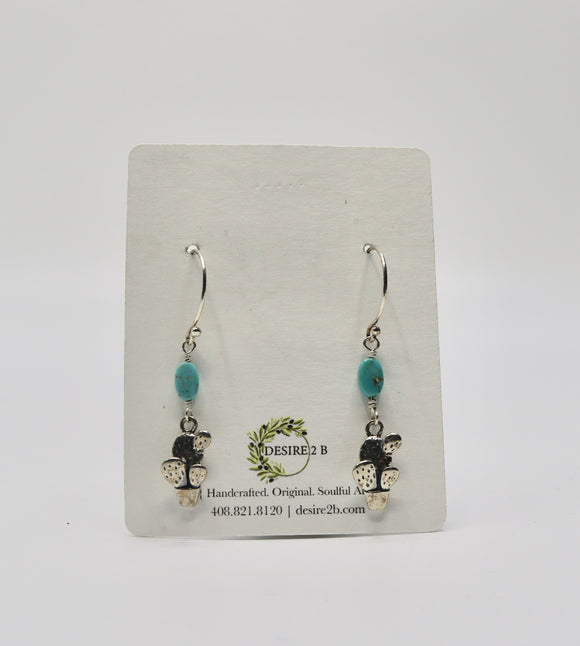 Sterling and American Turquoise Cactus Earrings