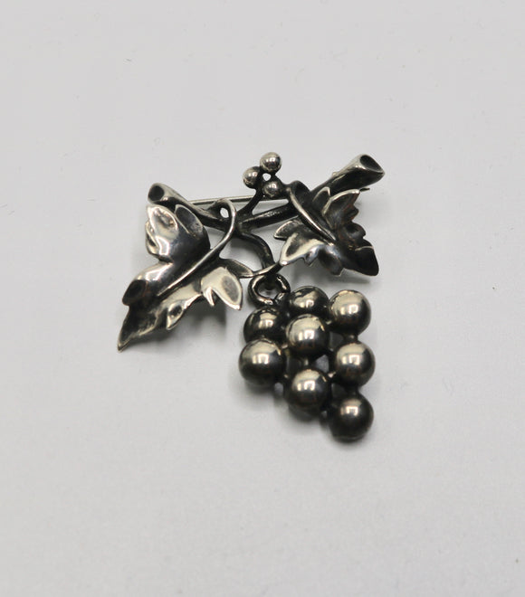 Sterling Grape Cluster Pin