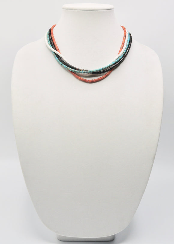 4 Strand Turquoise and Coral Necklace