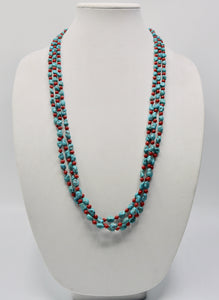 Nugget Turquoise and Coral Bead Necklace