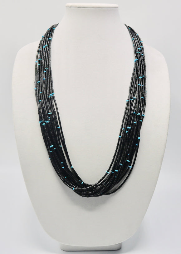 15 Strand Jet and Turquoise Necklace