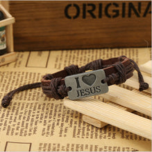 I Love Jesus Leather Bracelet