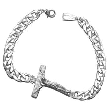 U7 Cross Bracelet Men Jewelry silver/Gold Color 21CM INRI Crucifix Jesus Piece Cuban Link Chain Bangles Fathers Day Gifts H894