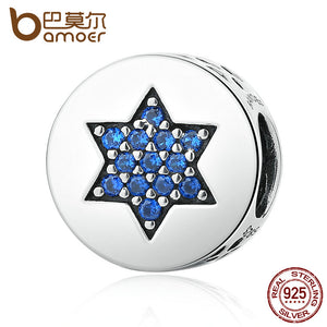 BAMOER Genuine 100% 925 Sterling Silver Blue Faith Round Charms fit Bracelets Women Beads & Jewelry Makings SCC105