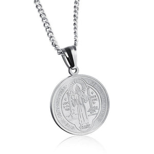 GAGAFEEL Religious Jesus Pendant Men Women Skull Necklaces Round Stainless Steel Male Female Chain Christian Jewelry