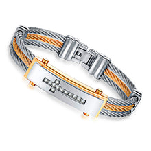 GAGAFEEL Jesus Cross Bracelet Men Jewelry Stainless Steel Mens Rock Bracelets & Bangles With 3 Rows Wire Chain Full Zircon H863