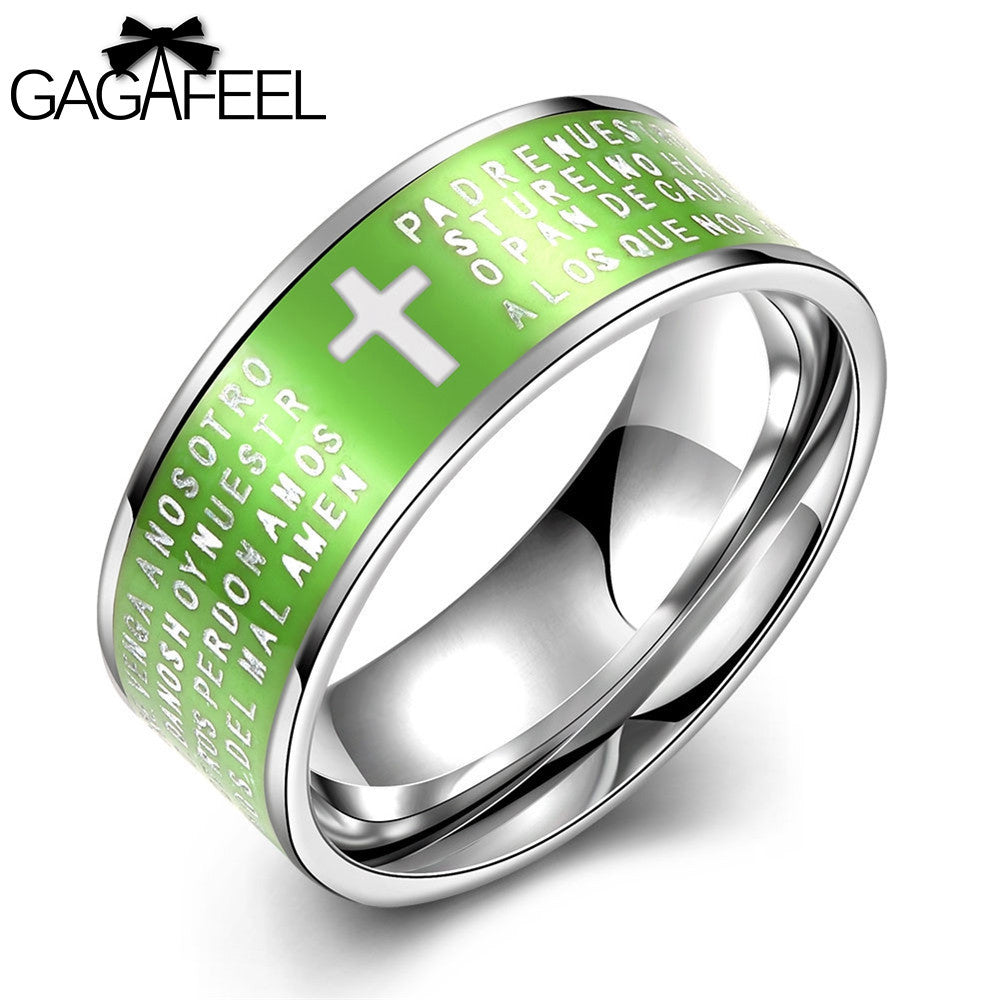 GAGAFEEL Religious Christian Ring Finger Cross Accessories Lord's Prayer Stainless Steel Jewelry Male Men Rings Ethnic Bijioux