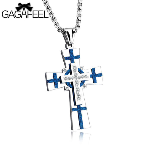 GAGAFEEL Engraved Custom Name Cross Scrub Men Necklace Crystal Zircon Jewelry Stainless Steel Blue Silver Color Jesus Choker