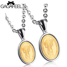 GAGAFEEL Engrave Tag Couple Pendant Necklace For Men Women Religious Jesus Skull Round Stainless Steel Chain Christian Jewelry