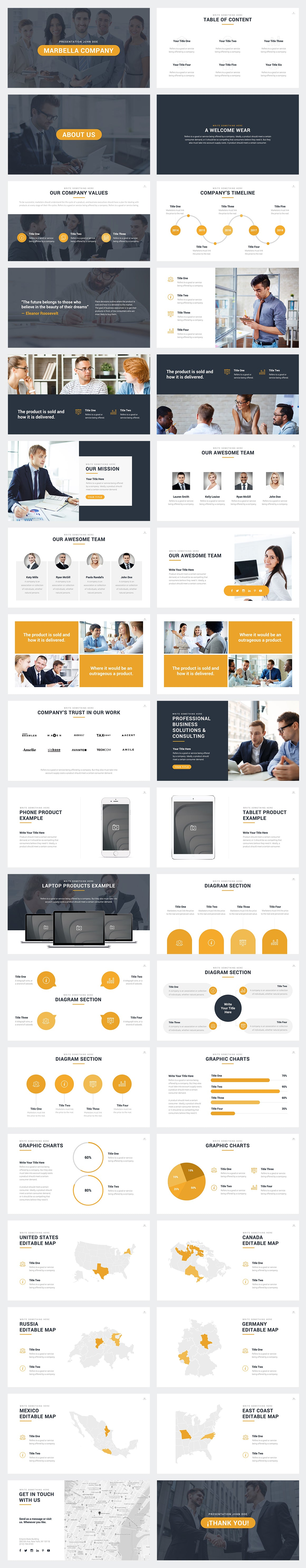Marbella PowerPoint Template Slides Preview