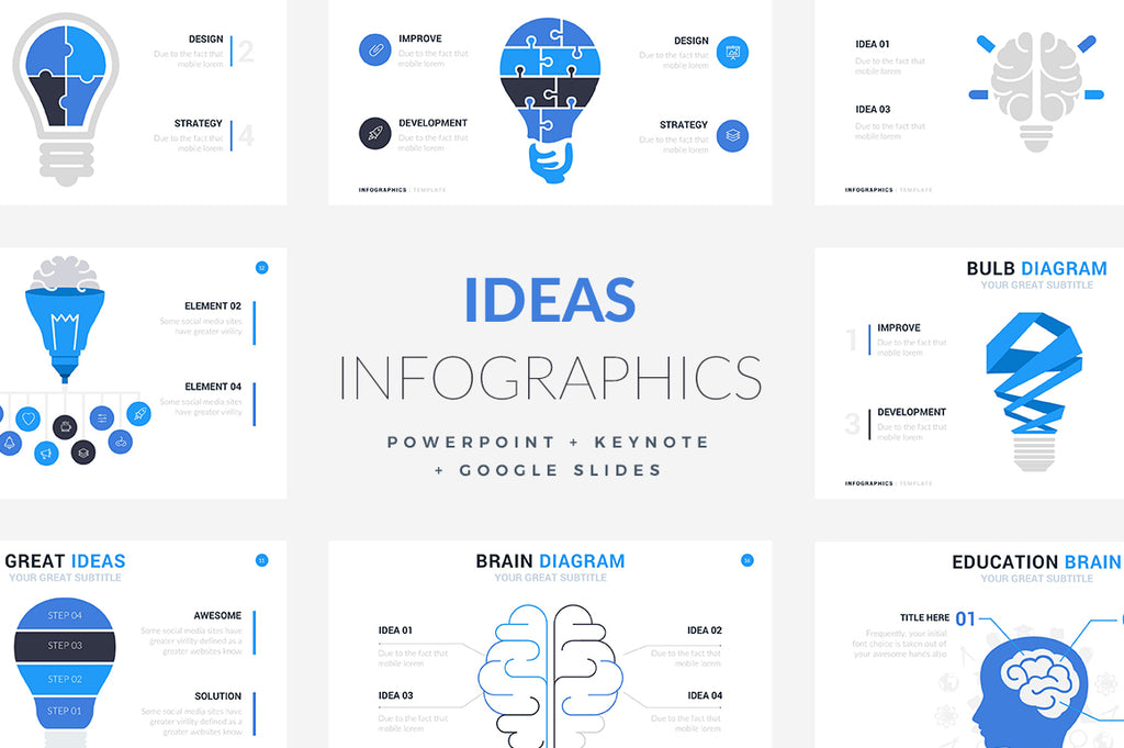 600 Infographics Powerpoint + Keynote + Google Slides