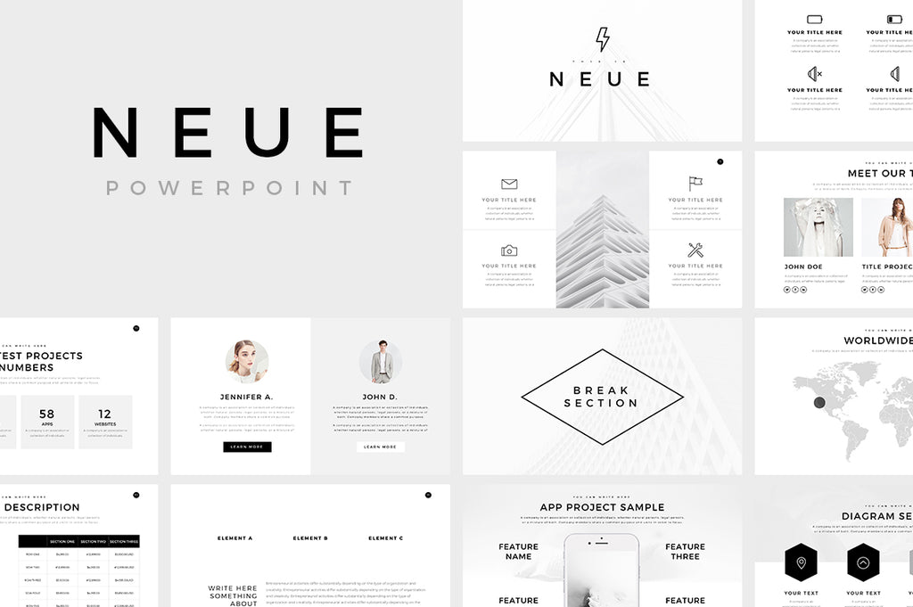 neue minimal powerpoint template presentations on slideforest