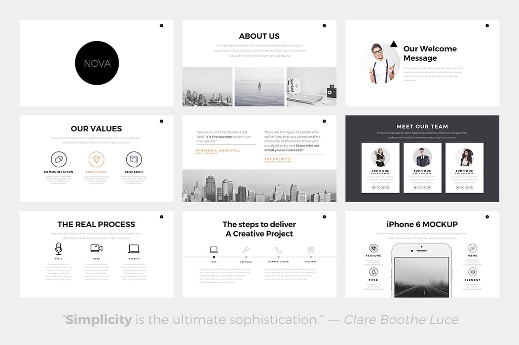 Nova Minimal Keynote Template - Presentation Templates on Slideforest
